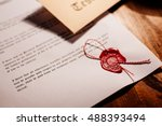 notary public wax stamp   seal... | Shutterstock . vector #488393494