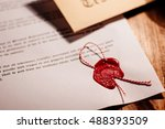 notary public wax stamp   seal... | Shutterstock . vector #488393509