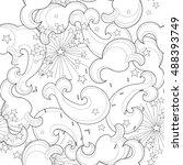 hand drawn doodle outline cloud ...   Shutterstock .eps vector #488393749
