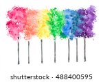 Row Of Rainbow Color Trees On...