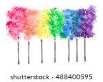 Row Of Rainbow Color Trees On...