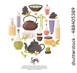 spa set  towel  aromatic oils ... | Shutterstock .eps vector #488405389