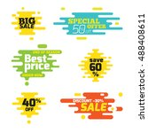 set sale sticker dynamic wavy... | Shutterstock .eps vector #488408611