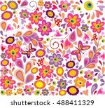 hippie wallpaper with funny... | Shutterstock .eps vector #488411329