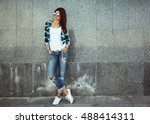 hipster girl wearing white t... | Shutterstock . vector #488414311