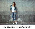 hipster girl wearing white t... | Shutterstock . vector #488414311