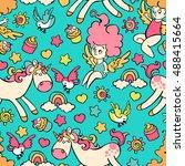 children pattern  unicorn ... | Shutterstock .eps vector #488415664