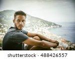 handsome young man in trendy...   Shutterstock . vector #488426557