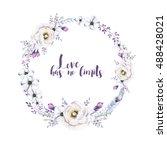 watercolor floral boho  flower... | Shutterstock . vector #488428021