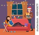 christmas home. man in santa...   Shutterstock .eps vector #488440879