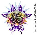 grunge twirled sharks. two... | Shutterstock .eps vector #488443234
