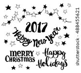 merry christmas. happy new year.... | Shutterstock .eps vector #488455621