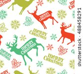 merry christmas. deer.... | Shutterstock .eps vector #488458291