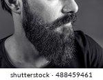 closeup of a young man's beard... | Shutterstock . vector #488459461