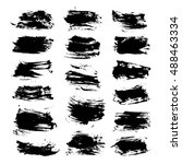 set of strokes painted by brush ... | Shutterstock .eps vector #488463334