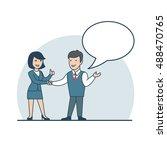 linear flat businessman and... | Shutterstock .eps vector #488470765