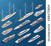 isometric flat yacht  ship and... | Shutterstock .eps vector #488470804