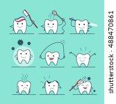 linear flat cute tooth... | Shutterstock .eps vector #488470861