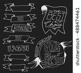 hand drawn doodle ribbons and... | Shutterstock .eps vector #488474461