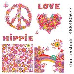 set for hippie wallpaper with... | Shutterstock .eps vector #488480677