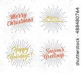 set of christmas lettering ... | Shutterstock .eps vector #488480764