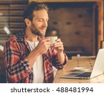 handsome designer is enjoying... | Shutterstock . vector #488481994