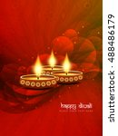 abstract red color happy diwali ... | Shutterstock .eps vector #488486179