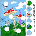 cartoon mushroom house on the... | Shutterstock .eps vector #488487649