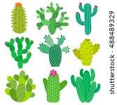 cactus flower set. hand drawn... | Shutterstock .eps vector #488489329