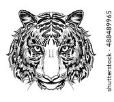 tiger head black and white... | Shutterstock .eps vector #488489965