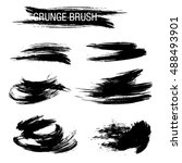 vector set of grunge brush... | Shutterstock .eps vector #488493901