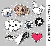 fashion set of cartoon patch... | Shutterstock .eps vector #488495671