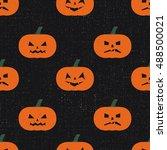 halloween pumpkins pattern.... | Shutterstock .eps vector #488500021