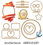 rope knots and frames set.... | Shutterstock .eps vector #488510185