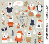 christmas set with cute bunnies ... | Shutterstock .eps vector #488512324