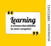 vector quote. learning is a... | Shutterstock .eps vector #488521411