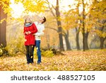 nice couple in love hugging in... | Shutterstock . vector #488527105