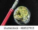 marijuana bud cannabis in glass ... | Shutterstock . vector #488527915