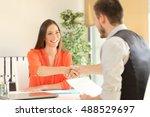happy employee and boss... | Shutterstock . vector #488529697