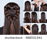simple braid hairstyle heart... | Shutterstock . vector #488531341