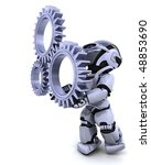 3d Render of a robot with gear mechanism - stock photo
