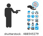 robber with gun icon with bonus ... | Shutterstock .eps vector #488545279