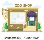 facade zoo shop. signboard with ... | Shutterstock .eps vector #488547034