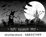 halloween background. monsters... | Shutterstock .eps vector #488547499