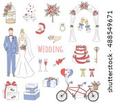 vector set of  wedding icons... | Shutterstock .eps vector #488549671