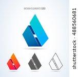 vector abstract 3d drop logo...   Shutterstock .eps vector #488560681