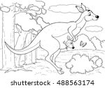 at the zoo. australian animals. ... | Shutterstock . vector #488563174