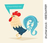 stylized rooster on a light... | Shutterstock .eps vector #488564989
