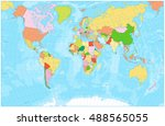 blank political world map with... | Shutterstock .eps vector #488565055