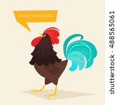 stylized rooster on a light... | Shutterstock .eps vector #488565061